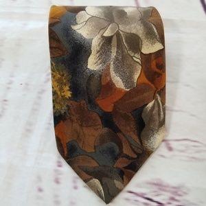 HUGO BOSS Neck Tie Brown Gray Floral